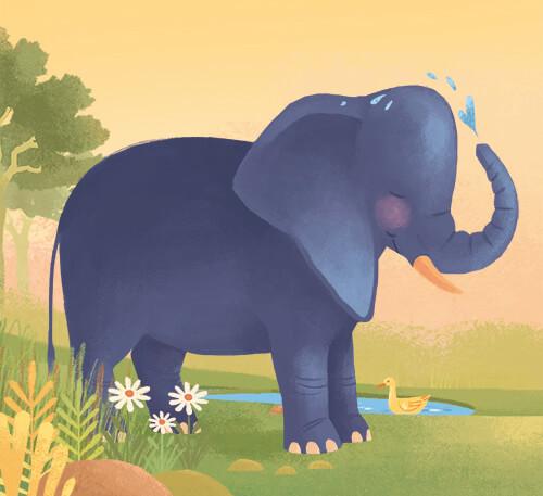 """Ένας Ελέφαντας δροσίζεται! Η ζωγραφιά είναι μέρος της εικονογράφησης του παιδικού βιβλίου """"Πού σε πάει το όνομά σου;"""" και θα την δει κανείς αν στο ταξίδι που θα κάνει το παιδί, για το οποίο έχει δημιουργηθεί το βιβλίο, θα συναντήσει έναν Ελέφαντα!"""