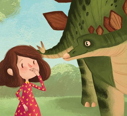 """Ένα κορίτσι συναντά έναν Δεινόσαυρο. Η ζωγραφιά είναι μέρος της εικονογράφησης του παιδικού βιβλίου """"Πού σε πάει το όνομά σου;"""""""
